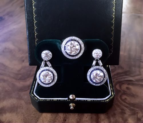 Art Deco platinum & 16ct diamonds ring & earring set