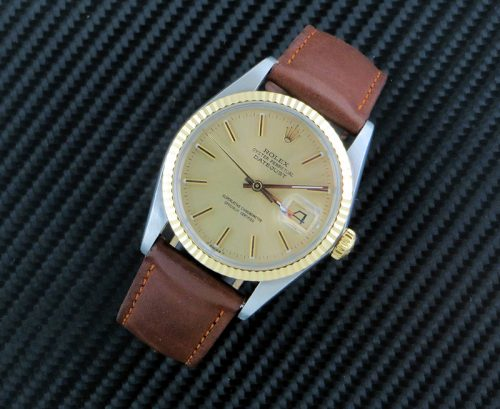 Classic men's bi metal Rolex Datejust on leather strap