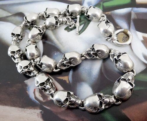 Unusual heavy Silver skull chain of high quality